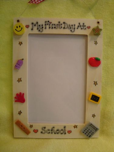 My First Day At School Wooden Photo Frame for 6 x 4 inch photo  Handmade Unique Ready To Despatch